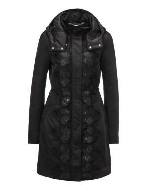 Lace trim parka jacket with detachable hood
