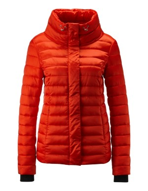 Drawstring collar quilted jacket
