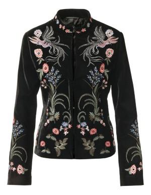 Embroidered velvet blazer