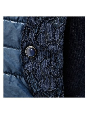 Hooded quilted waistcoat trimmed with lace