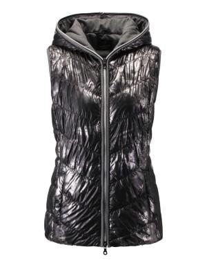 Padded metallic-look waistcoat