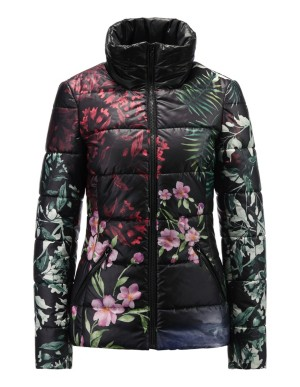 Light, floral padded jacket with two-way zip
