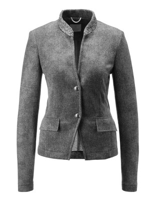 Blazer with rhinestone collar