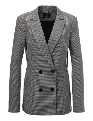Double-breasted pepita blazer