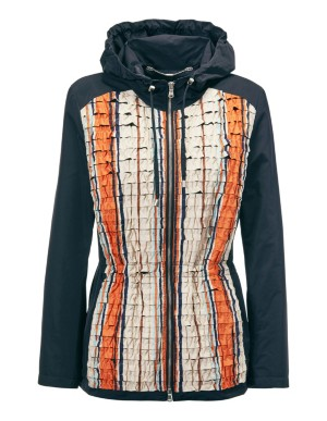 Parka-style jacket with striped front and back