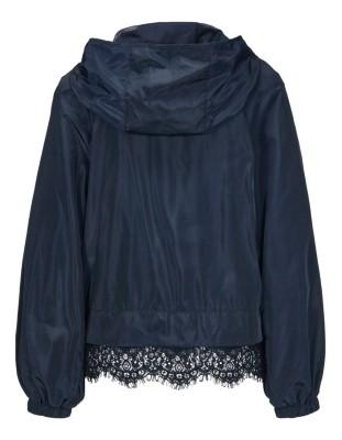 Blouson jacket with detachable hood