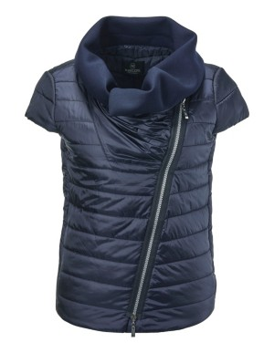 Quilted waistcoat with oversized collar and asymmetric zip