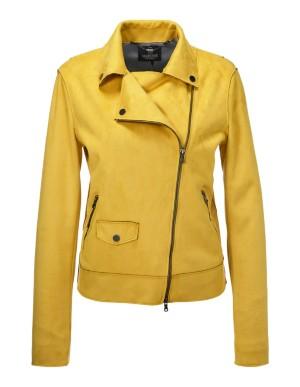 Faux suede biker-style jacket