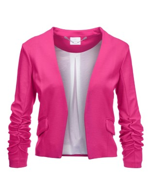 Blazer with gathered elasticated sleeves