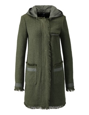 Long fringed jacket with detachable hood