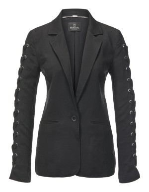 Blazer with sleeve eyelets and lacing