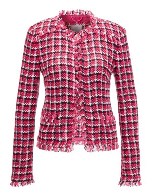 Tweed check blazer with fringed edges