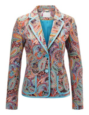 Paisley blazer with contrasting trim