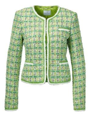 Collarless novelty tweed blazer