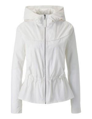 Hooded jacket with pleated-look peplum