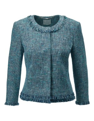 Multi-coloured tweed blazer with fringing