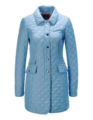 Quilted frock coat with piped edges