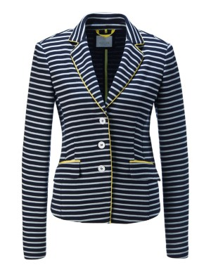 Striped jersey blazer with contrast grosgrain detail