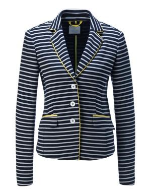 Striped blazer with contrast grosgrain detail