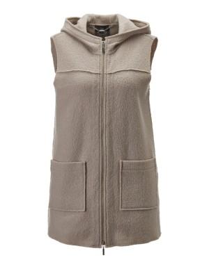 Milled new wool hooded waistcoat