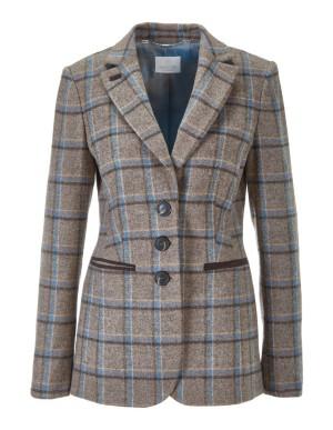 New wool Shetland check blazer