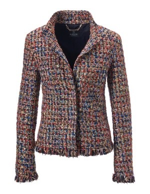 Frayed-edged bouclé blazer