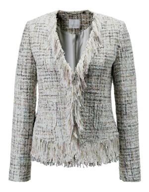 Bouclé frayed-edge blazer