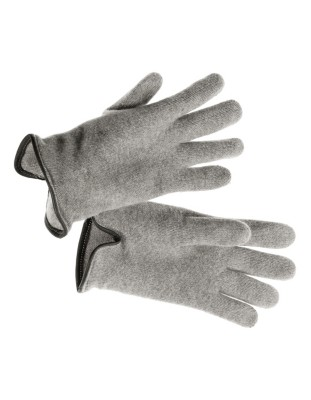 Cashmere gloves with fine leather piping