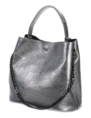 Metallic leather drawstring bag