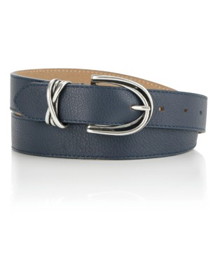 Leather belt with arched metal buckle