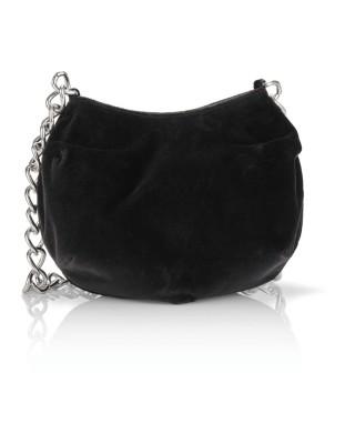 Velvet shoulder bag with chain