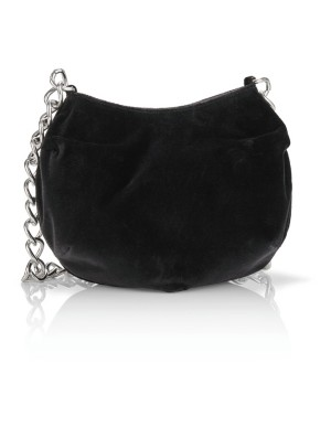 Velvet shoulder bag with chain