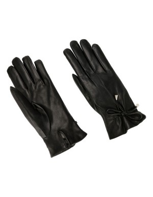Lambskin gloves with leather bow