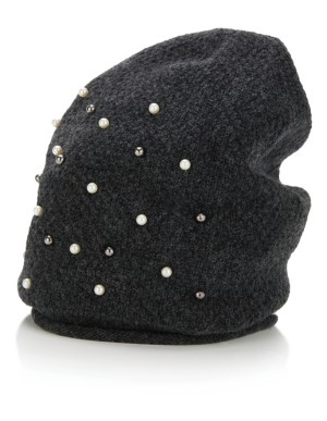 Faux pearl-adorned hat
