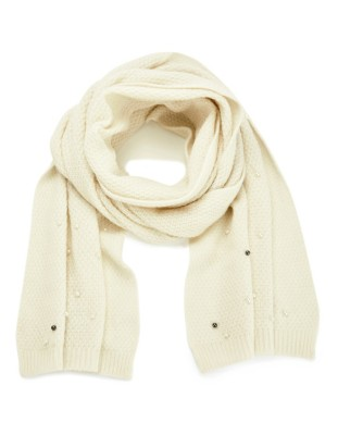 Scarf with faux pearls