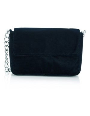 Suede shoulder bag with chain