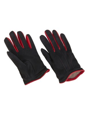 Supple suede gloves with contrasting piping