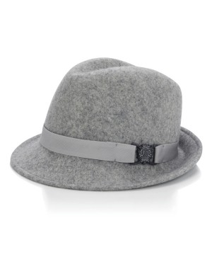 Trilby with felt band and decorative element