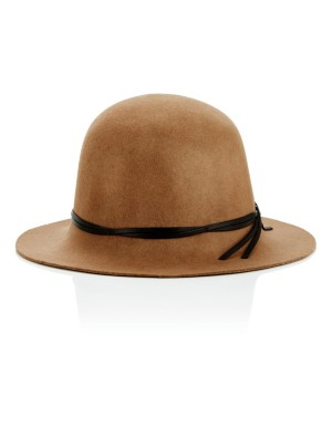Bell-shaped hat with leather trim