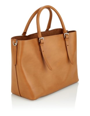 Leather handbag with removable inner bag