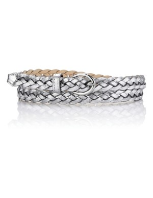 Woven metallic leather belt