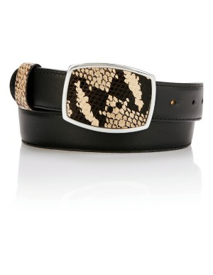 Belt with pin buckle and snakeskin print loop