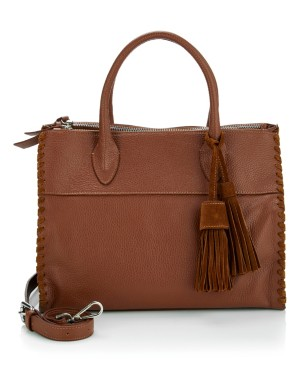 Italian leather handbag with tassel