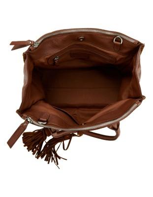 Italian leather handbag with tassel