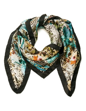 Animal and floral print silk scarf