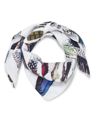 Feather-patterned silk scarf