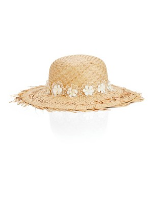 Frayed edge hat with flower band