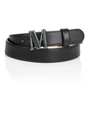 Leather 'M' buckle belt