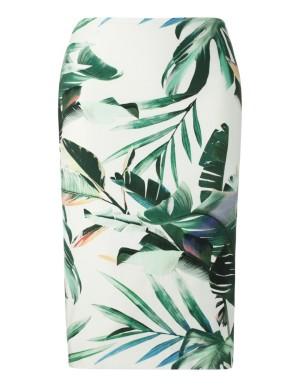 Feminine floral print pencil skirt