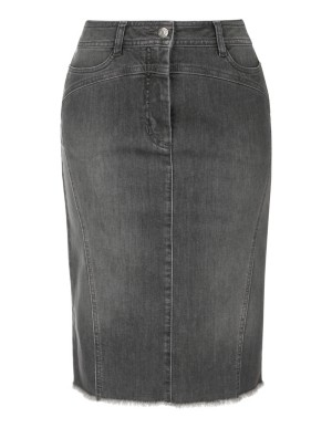 Denim pencil skirt with fringed hem